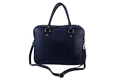 7157dd8dcf CHLOLY Sac a Main Cuir Elegantina Italie - Bleu Jeans - Sac Cuir elegantina  Sac