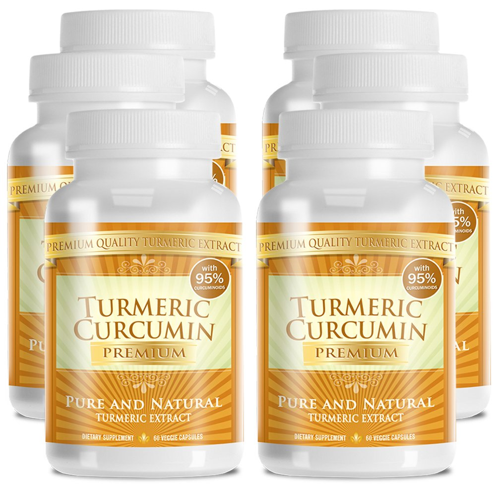 Turmeric Premium - Pure Turmeric 95% Curcumin with Bioperine - Vegan Natural Anti-Inflammatory, Antioxidant, Pain Relief and Antidepressant - 360 Capsules, 3 Months Supply