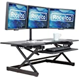 "Rocelco 46"" Large Height Adjustable Standing Desk Converter, Quick Sit Standup Triple Monitor Riser, Gas Spring Assist…"