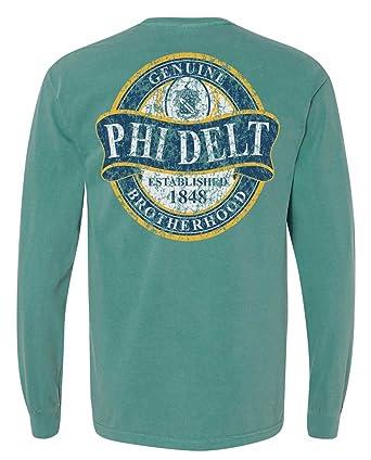 108d7fe4 Phi Delta Theta Faded Green Comfort Colors Long Sleeve Pocket Tee ...