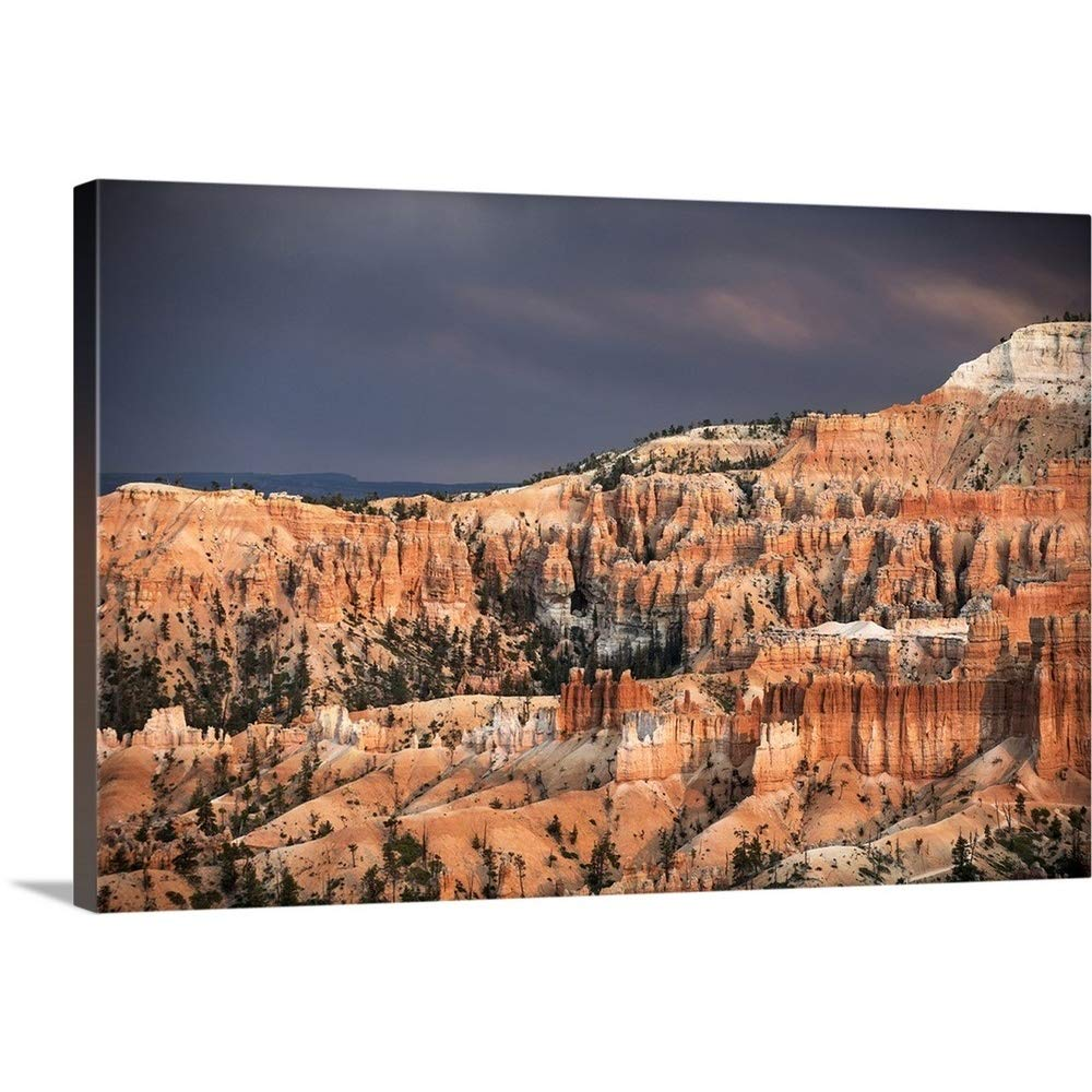 greatBIGcanvas Gallery-Wrapped Canvas Entitled Sunlight Illuminating The red Striped hoodoos in Bryce Canyon Amphitheater, Utah Circle Capture 24''x16''