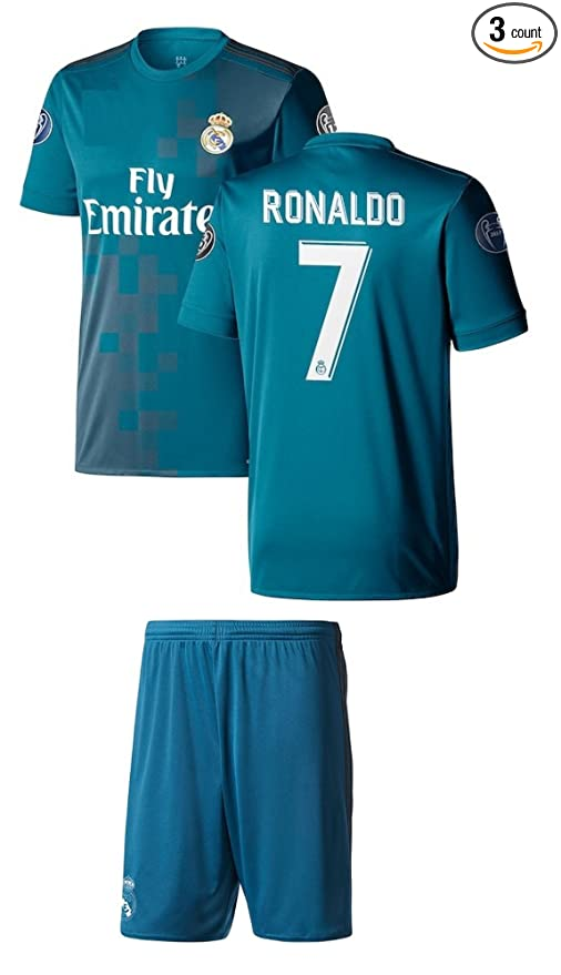 ... denmark cristiano ronaldo soccer jersey 7 blue 3rd real madrid youth  kids with shorts and picture 0d9ae8bcc