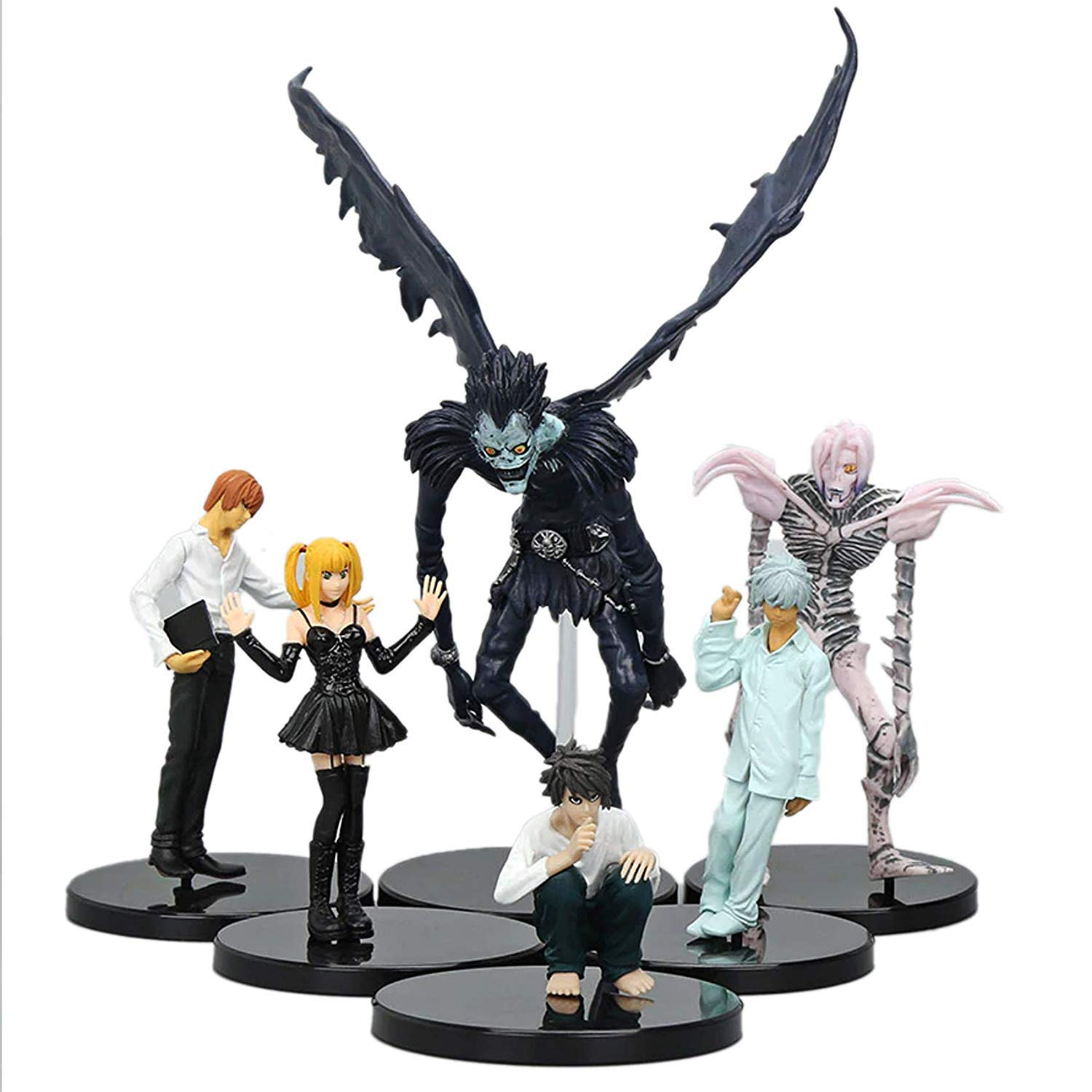 hhh Anime - Death Note - Set of Characters L, Ryuk, Light, Rem, Misa, and N Action Figures Collection and Model Toys - 6pcs by hhh