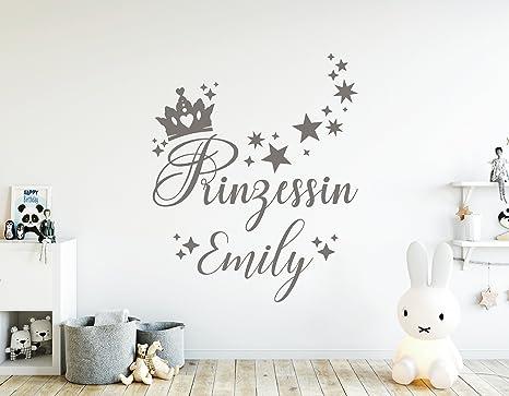 tjapalo® dg-pkm357 Wandtattoo Kinderzimmer mädchen Name Prinzessin  Türaufkleber mit Namen (H50 x B38 cm)