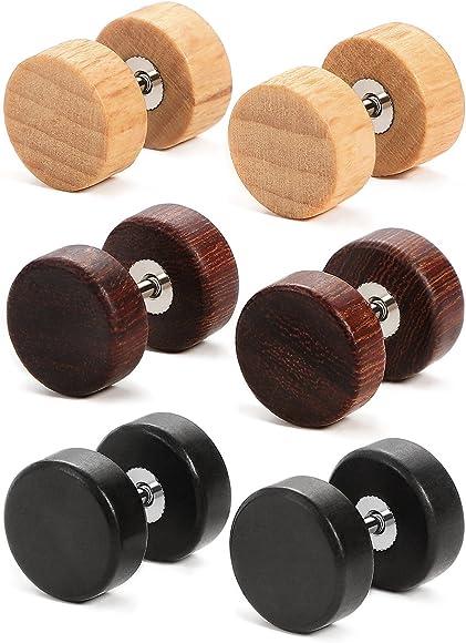 69a74b2ef Charisma 10mm Wooden Vintage Stainless Steel Stud Earrings Ear Plugs  Piercings Hypoallergenic Screw 3 Pairs