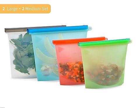 Bolsa de silicona para guardar alimentos Bolsa de silicona reutilizable para alimentos Juego de 4 - Congelador 2 grande y 2 medianas Bolsas de silicona reutilizables para Sous Vide