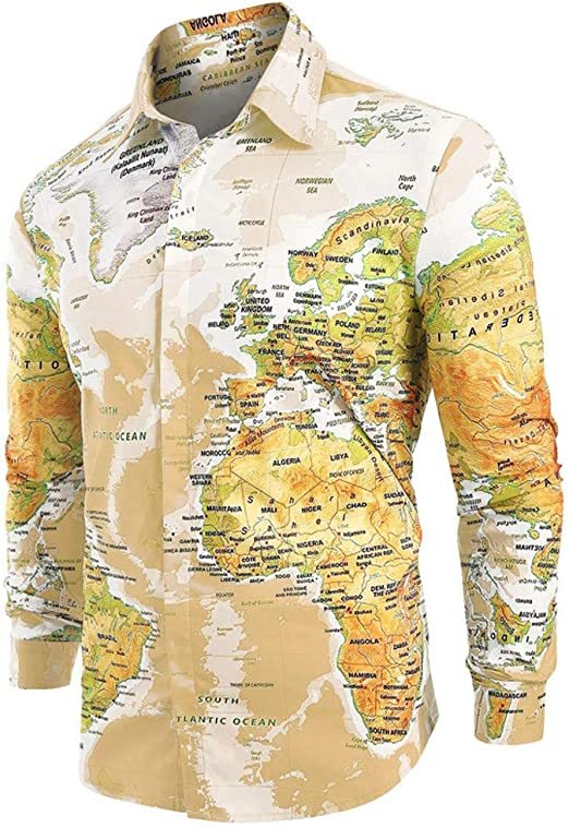Finebo - Camisa de manga larga para hombre, diseño de mapamundi, amarillo, extra-large: Amazon.es: Iluminación
