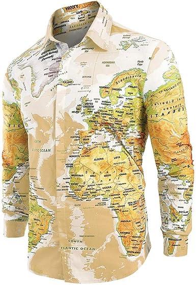 COOLIY_Uomo T-shirt Men Casual World Map impresión con Camisa ...