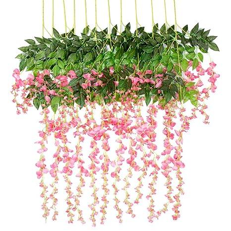 Amazon artificial flowers wisteria 12 pcs 36feet garland vine artificial flowers wisteria 12 pcs 36feet garland vine silk hanging plants wedding arrangements outdoors decorations mightylinksfo