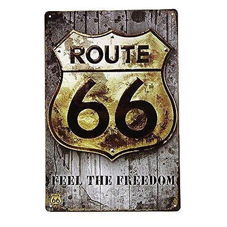WallAdorn Route 66 - Cartel de Hierro para Oficina, Garaje ...
