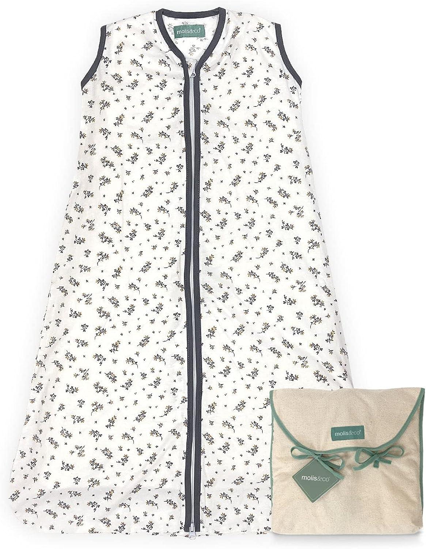 molis&co. Saco de dormir para bebé. 0.5 TOG. Ideal para verano. 100% algodón orgánico (GOTS).