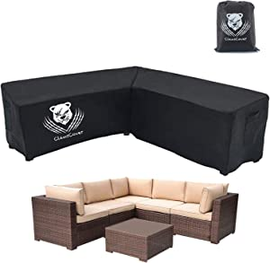 "ClawsCover Patio V-Shaped Sectional Sofa Covers Waterproof Outdoor Furniture Protector Heavy Duty Garden Couch Cover,2 Air Vents,6 Windproof Straps,100"" L (on Each Side) x 33.5"" D x 31"" H"