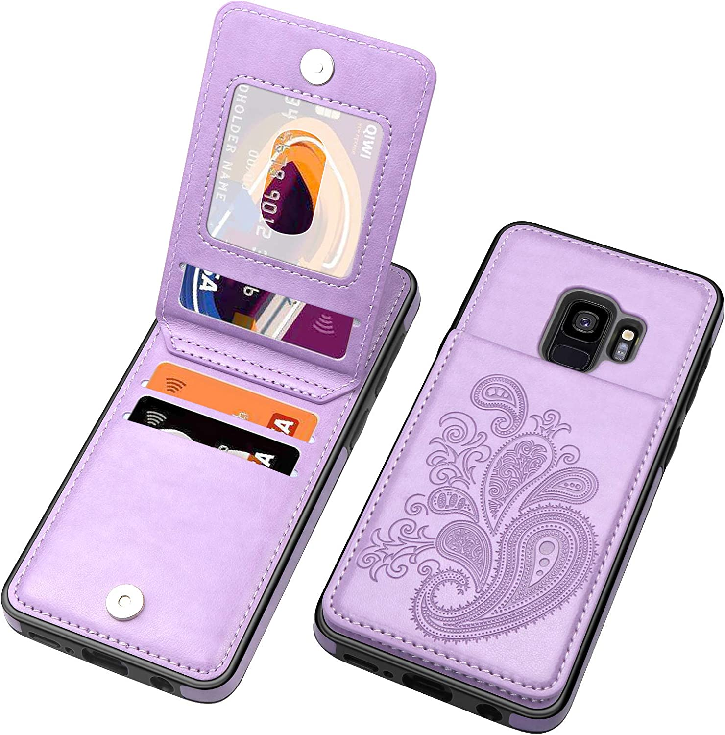 SiZiYNan Flip Case for Samsung S9 Case, Embossed Flower Series Premium PU Leather Galaxy S9 case for Women with Wallet Credit Card Holders Slim S9 Phone Case for Samsung Galaxy S9,Purple