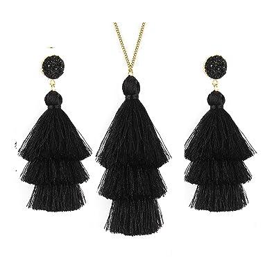 Amazon com: Joctly Tassel Statement Long Necklaces for Women
