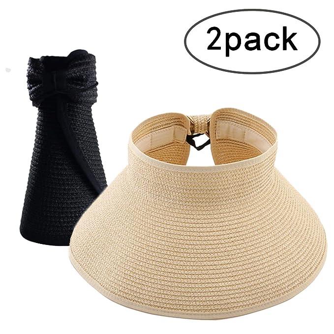 9da301d5262cc6 Amazon.com: Womens Summer Foldable Wide Brim Sun Visor, Roll Up Beach Straw  Hat: Clothing