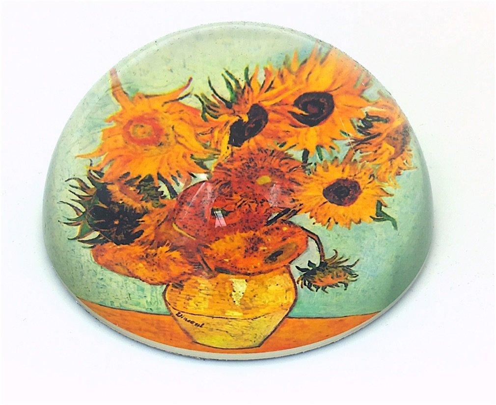 en forma de domo Pisapapeles de cristal con dise/ño de los girasoles de Van Gogh