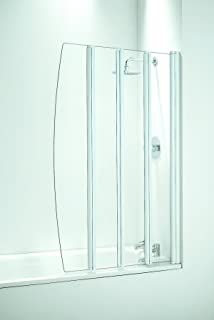 Coram Showers SFD4CUW 1400mm X 865mm 4 Panel Folding Bath Screen With 4mm  Thick Clear