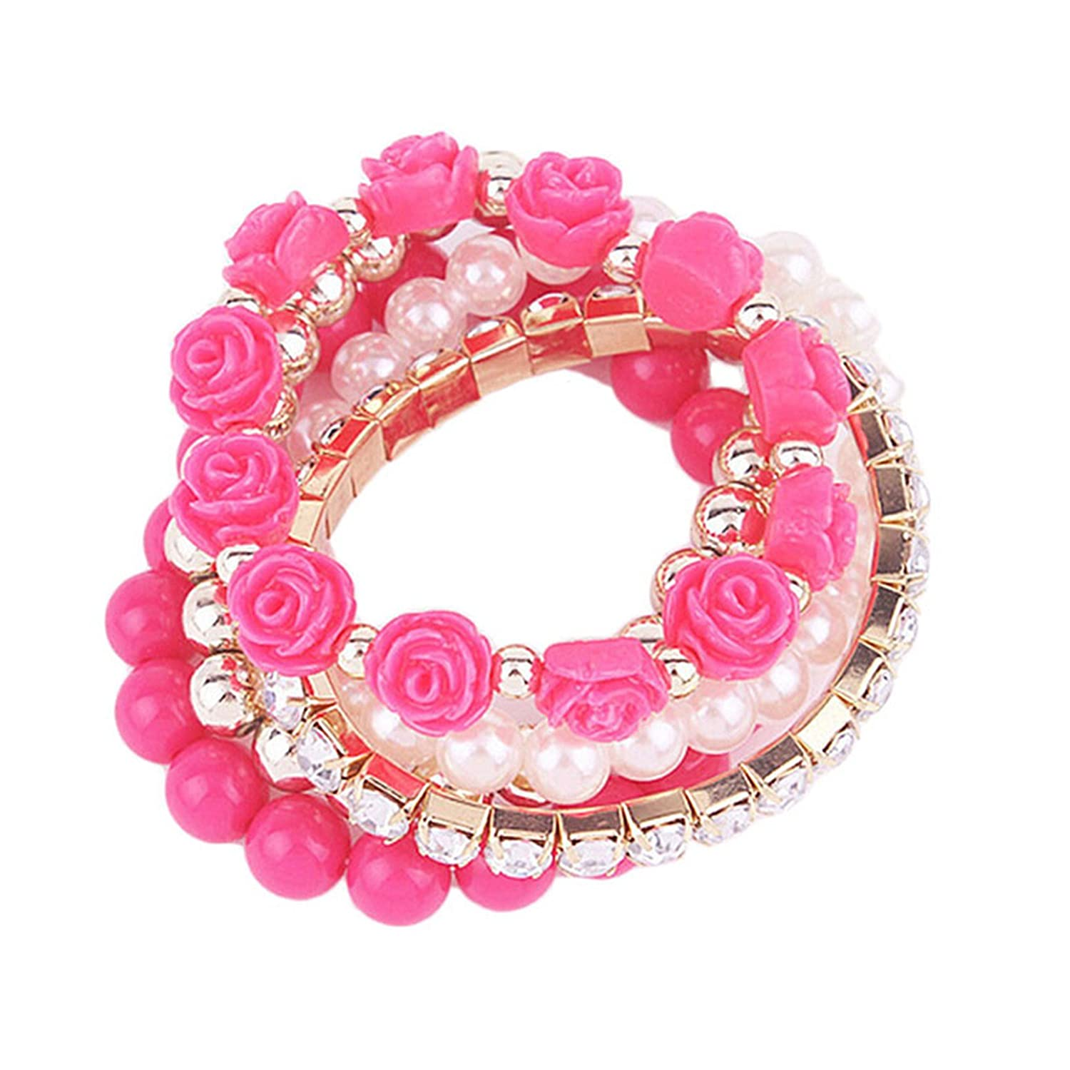 BSGSH Multilayer Roses Beaded Bracelet for Women Girls Jewelry Stackable Wristband Bohemian Style