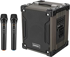 EARISE M37 Wooden Box PA System with 2 Wireless Microphone for Home Party