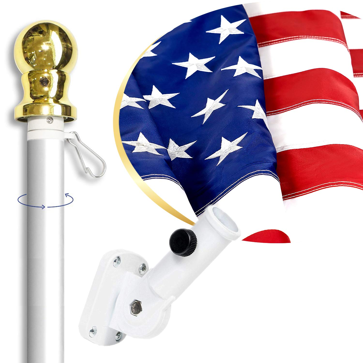 American Flag Kit Includes: 6ft Spinning Flagpole, 3x5 Embroidered US Flag, Adjustable Wall Mount Flag Holder, Commercial Residential Indoor Outdoor Use | US Flag Kit, Silver by Front Line Flags