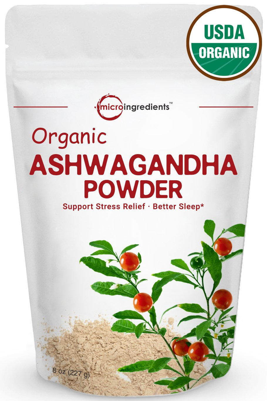 Premium Pure Organic Ashwagandha Root Powder, Adaptogenic Ayurvedic Herbal Supplement That Promotes Vitality & Strength - Support for Stress-free Living, 8oz (227g)