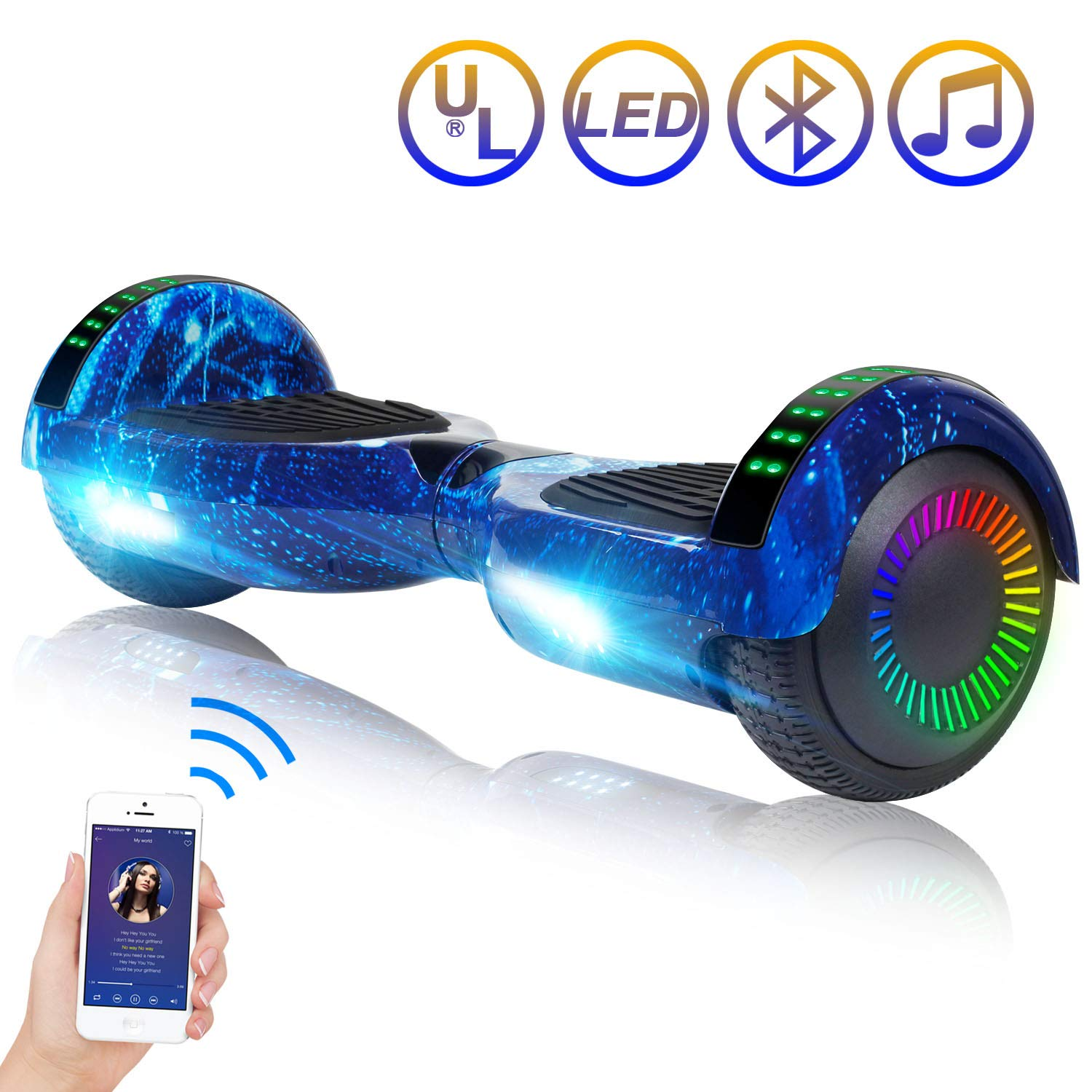 SISIGAD Hoverboard 6.5'' Two-Wheel Self Balancing Scooter with Bluetooth Speaker Electric Scooter for Adult Kids Gift UL 2272 Certified - Starry Sky