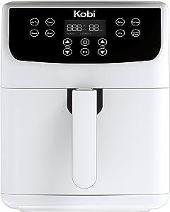 Kobi Air Fryer, 5.2 Quart,1700-Watt Electric Hot Air Fryers Oven & Oilless Cooker for Roasting, Nonstick Basket,ETL Listed(100 Recipes) (White)