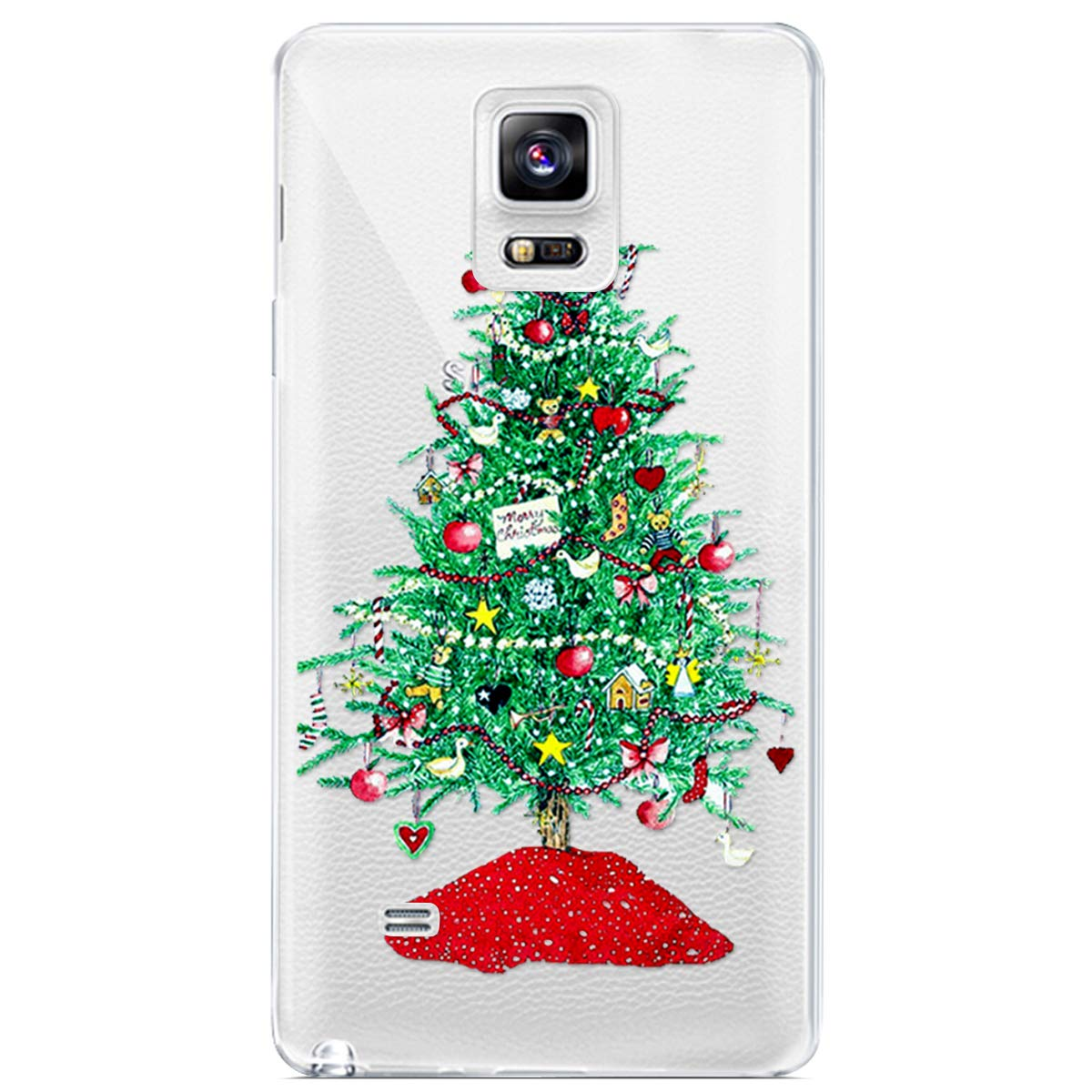 MoreChioce Coque Galaxy Note 4,Coque Galaxy Note 4 Transparente, Noël Silicone Anti-Rayures Flexible Gel Souple TPU Case Bumper,Premium Arbre Noël Vert Motif Christmas pour Galaxy Note 4