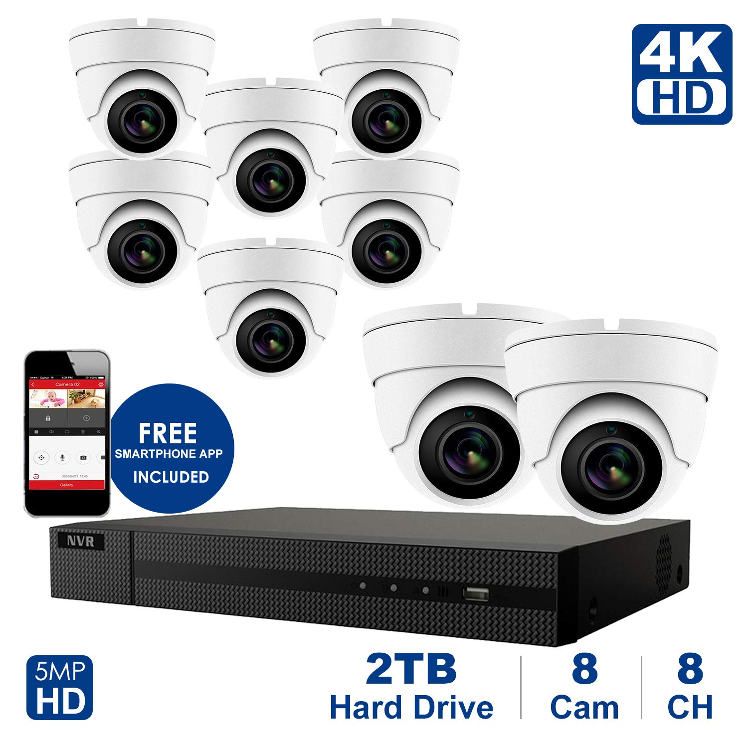 4K 8 CH NVR with Home Security System with 5MP IP Poe Dome 8pcs White Security Dome Camera,Plug and Play,Remote Home Monitoring System,2TB Storage (8 Channel System, 8pcs Whitedome Cameras) by Anpvees