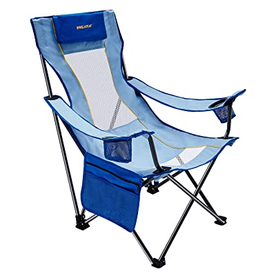 "#WEJOY 16.9"" High Seat Folding Camping Beach Chair with Pillow Cup Holders Pocket Mesh Back for Outdoor Sports Pool Lawn Patio, Carry Bag Included : Sports & Outdoors"