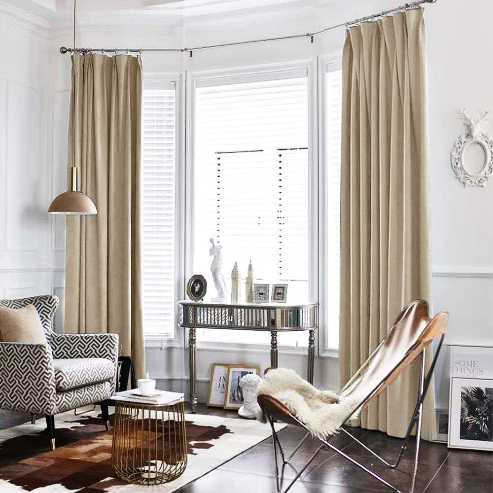 Amazon Com Jinchan Velvet Curtain Beige Living Room Rod Pocket Window Curtain Panel 84 Inch Long Bedroom Thermal 1 Panel Home Kitchen