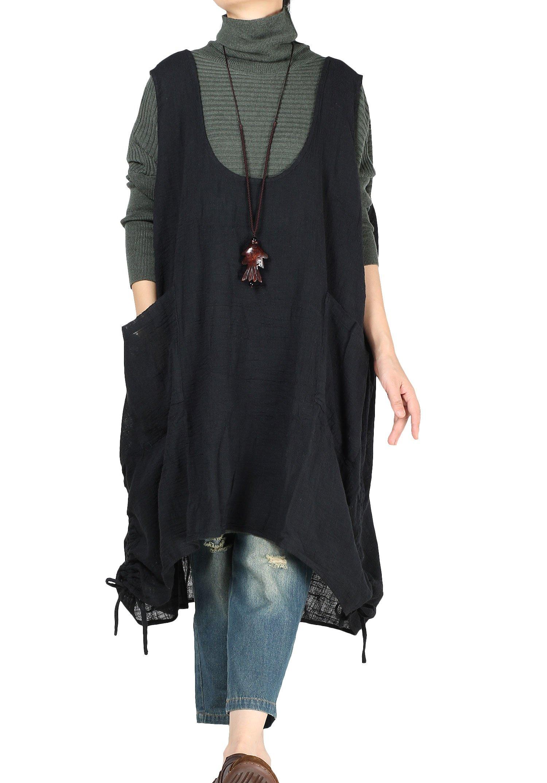 Mordenmiss Women's Summer Fall Vest Dress Pull-up Hem Top with Pockets XL (Black)