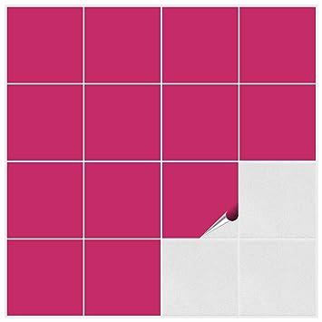 FoLIESEN Fliesenaufkleber für Bad und Küche - 15x15 cm - pink ...