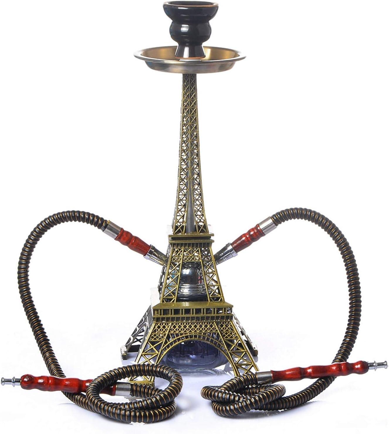 Juego de tuberías de Hookah Shisha, kit de forma de torre Eiffel con 2 mangueras de Hookah Shisha Hose Ceramic Bowl Abrazadera de carbón Conector de manguera Accesoreire, para bares Clubes Hoteles