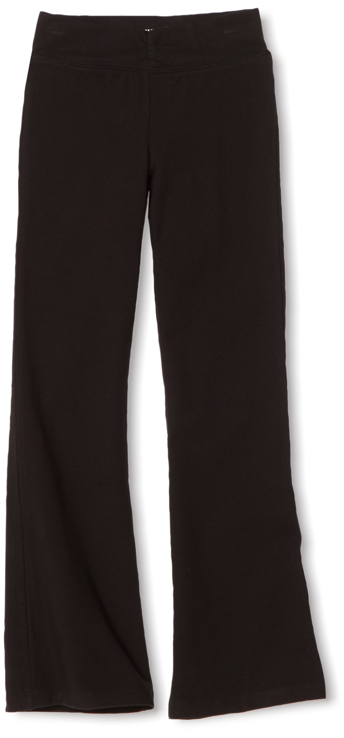 Danskin Big Girls' Shirred Waist Bootleg Pant, Black, Intermediate