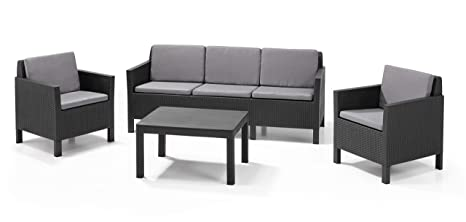 Allibert by Keter Chicago 5 Seater Rattan Lounge Set Outdoor Garden Furniture - Graphite with Grey  sc 1 st  Amazon UK & Allibert by Keter Chicago 5 Seater Rattan Lounge Set Outdoor Garden ...