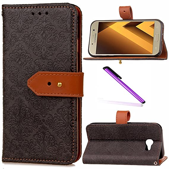 Samsung Galaxy A5 2017 Case 2017 Cover EMAXELER European Stylish Wallet Cover Embossing Kickstand Credit Cards Slot Cash Pockets PU Leather Flip For ...