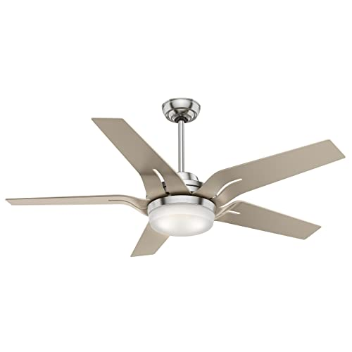 Casablanca Indoor Ceiling Fan with LED Light and Remote Control – Correne 56 inch, Brushed Nickel, 59197