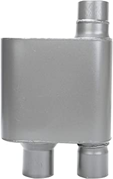 "Universal Race Muffler 2.5/"" Singer Side Inlet 2.5/"" Dual Outlet Aluminized Steel"