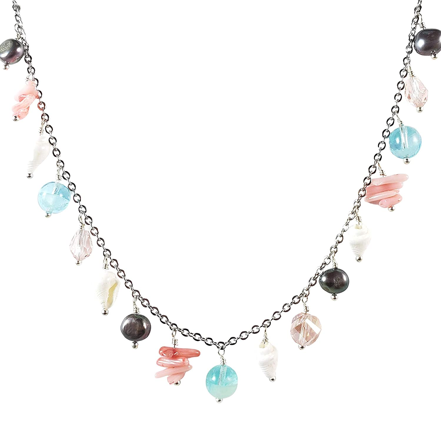 charm necklace Coral Crystal