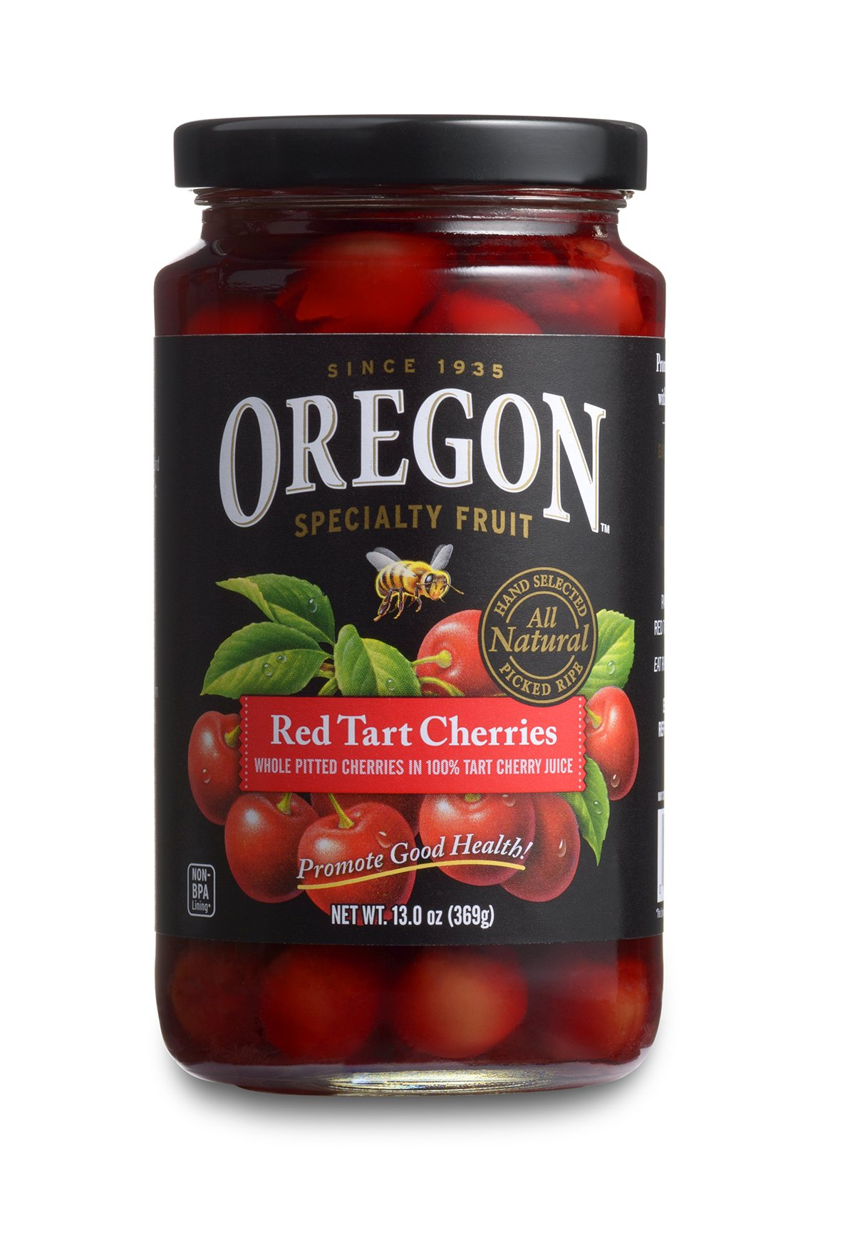 Oregon Fruit Products Red Tart Cherries in Cherry Juice - 13-ounce jar, (Pack of 4)