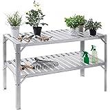 Giantex Aluminum Workbench Oranizer Greenhouse Prepare Work Potting Table Storage Garage Shelves, Silver