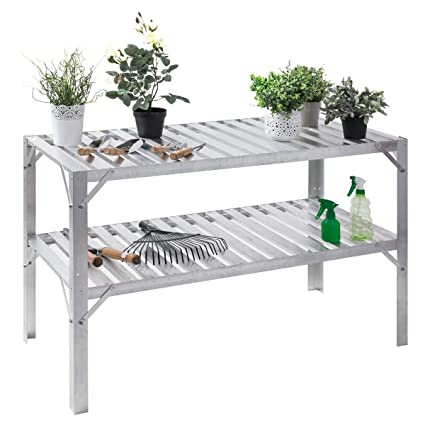 Giantex Aluminum Workbench Oranizer Greenhouse Prepare Work Potting - Metal table with shelves