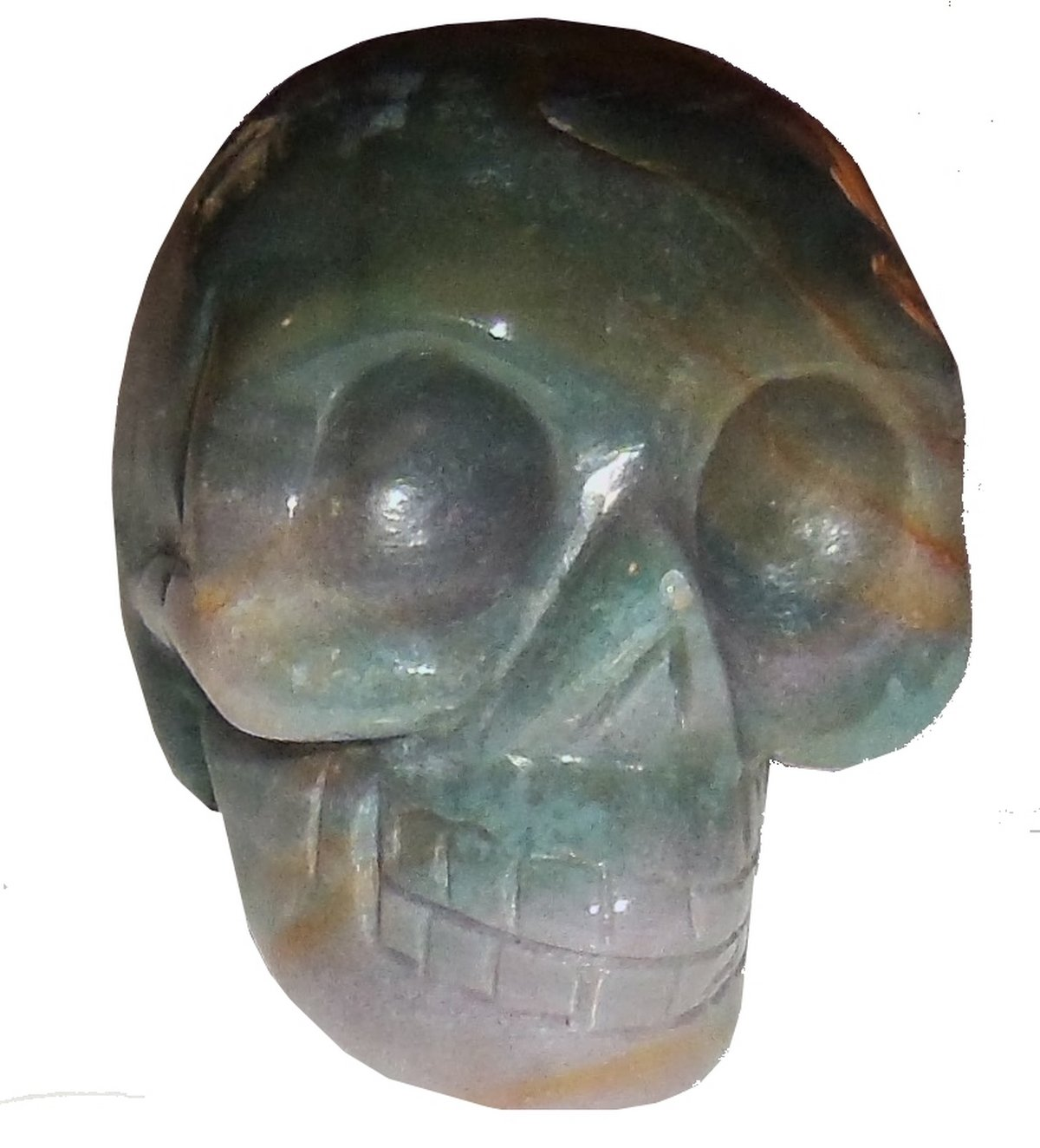 Moss Agate Skull 01 Sacred Akashic Ancient Past Life Love Heart Healing Energy 3'' by SunnyCrystals (Image #1)