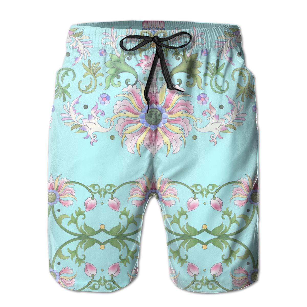 Lotus Flowers and Leaves Mens Swim Trunks Summer 3D Print Graphic Casual Athletic Swimming Short