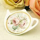 White Porcelain Ceramic with Flower Trim Gold Rim