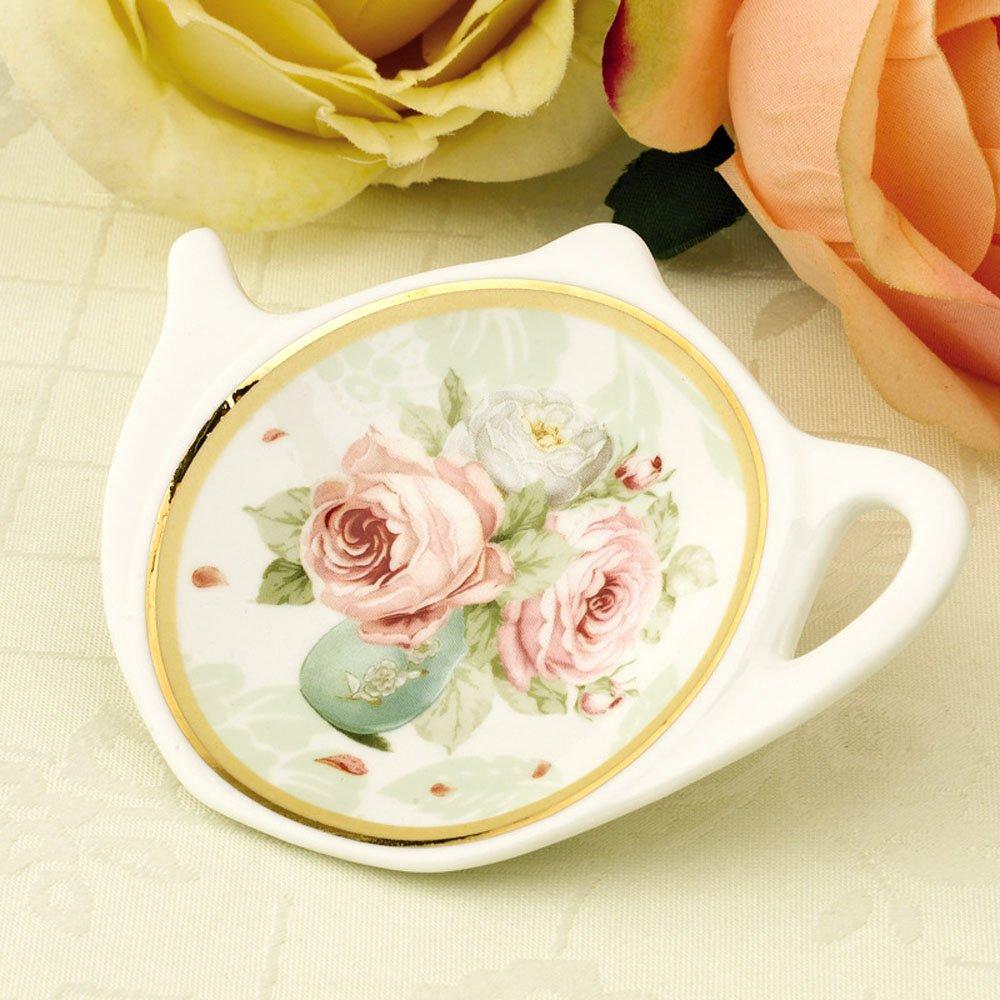 White Porcelain Ceramic with Flower Trim Gold Rim Teapot-Shaped Tea Bag Holder Tea Bag Coasters, Spoon Rests; Classic Tea Saucer Seasoning Dish Set by Linlins (Image #3)