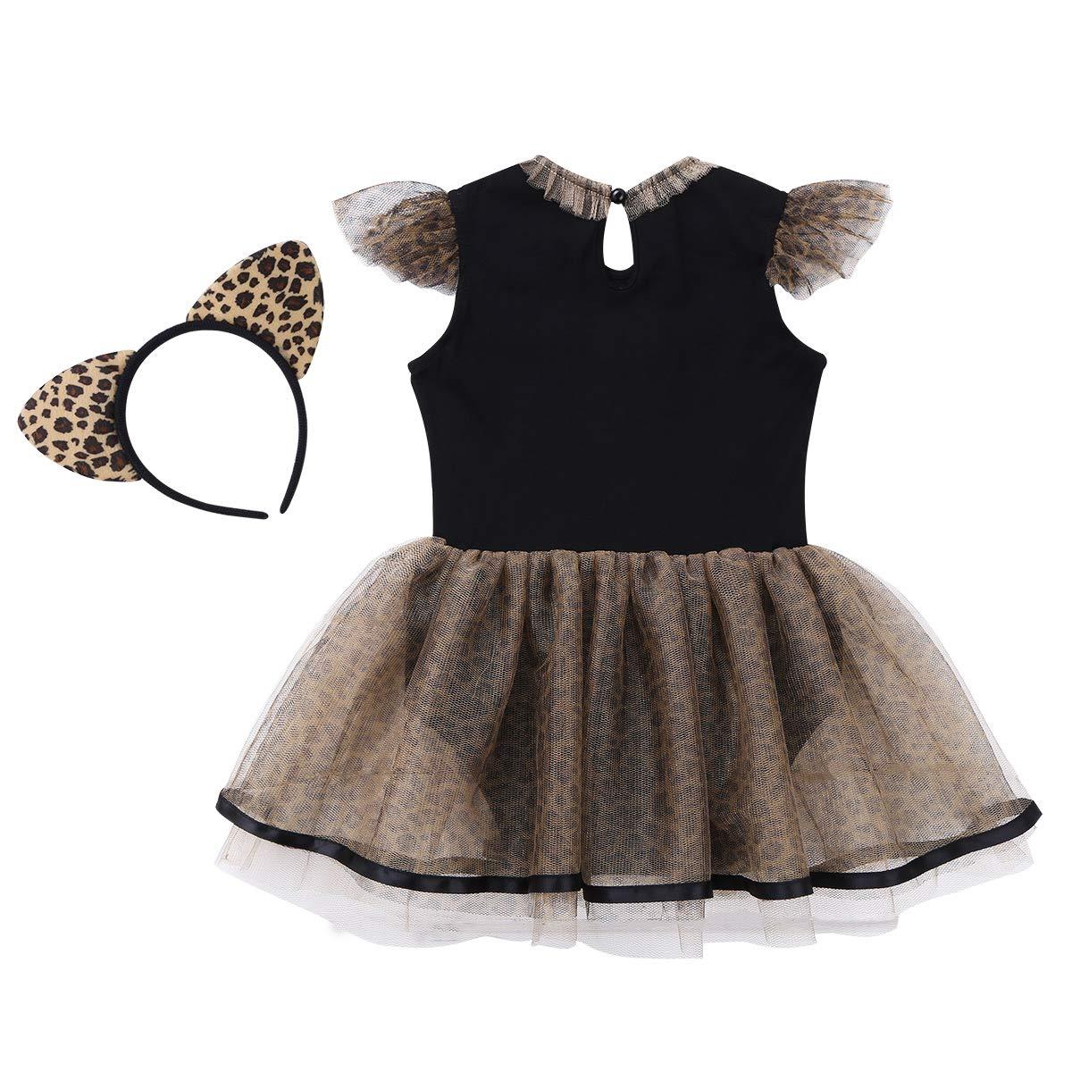 ranrann Vestido de Leopardo para Bebé Niña Disfraz de Gato Vestido de Princesa Infantil Manga con Volantes Body Traje Fiesta Carnaval con Diadema