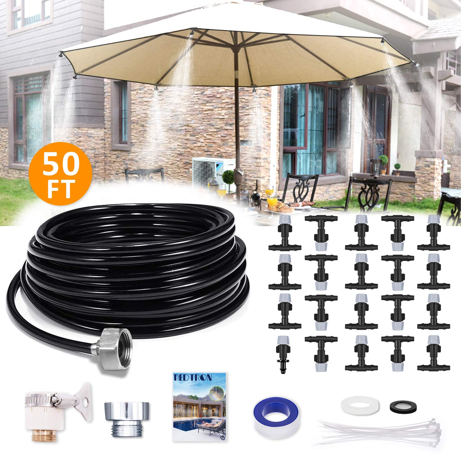 REDTRON 50FT Mist Cooling System, Patio Misting System with 20 Misting Nozzles