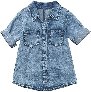 AIni Ropa Bebé Vestido De Camisa De NiñA Vestido De Mezclilla De Los NiñOs Vestido De